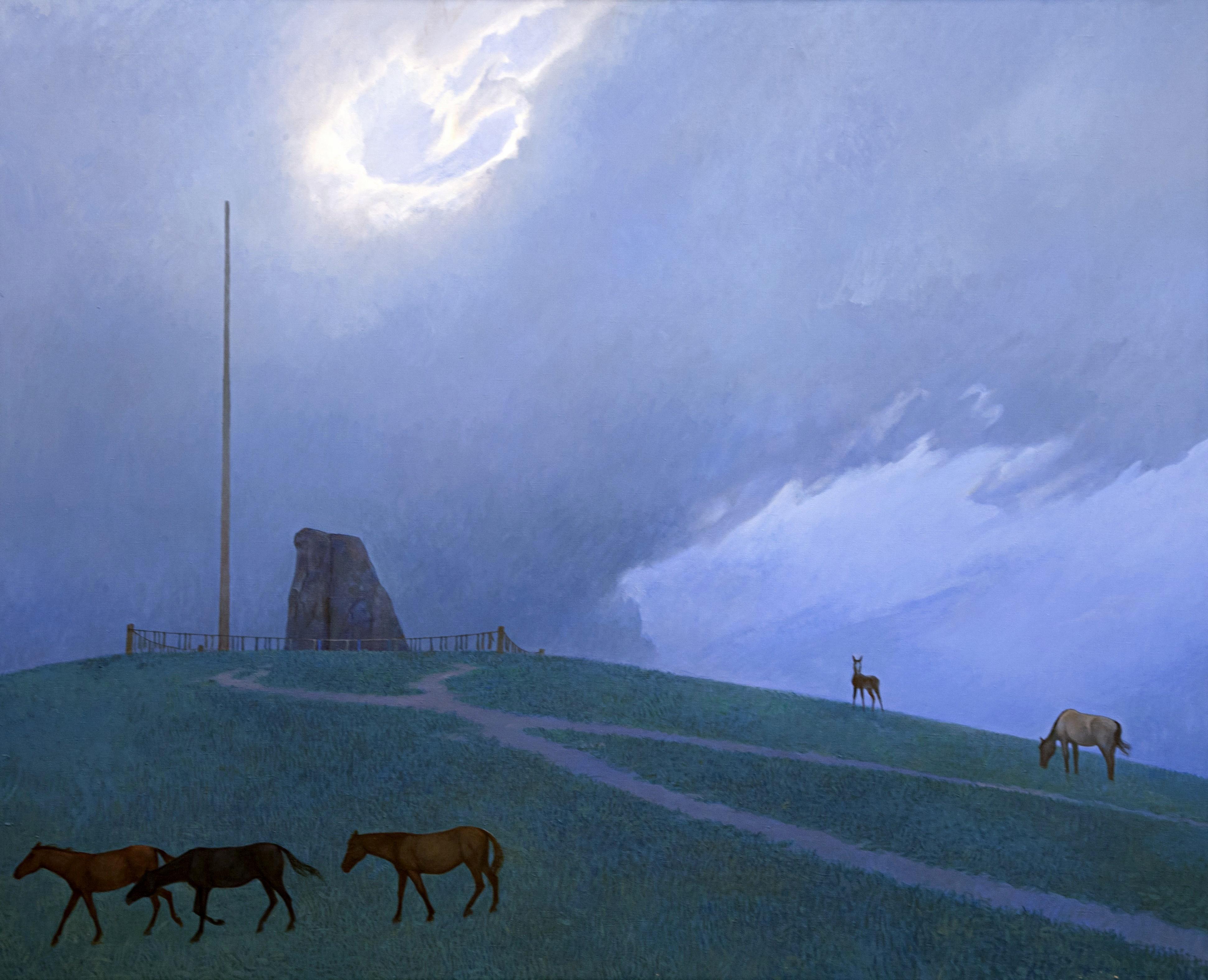 Азат Миннекаев. Коновязь небесного коня. 2011. Холст, акрил. 80х100 см. Коллекция Фонда Марджани.jpg