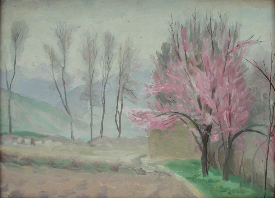 Весна Дерево в цвету 1958 картон масло.jpg