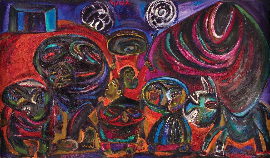 Джавад Мирджавадов. Свадьба. 1980-е гг. Холст, масло. 156х164 см Галерея Нар. Баку. Азербайджан.jpg