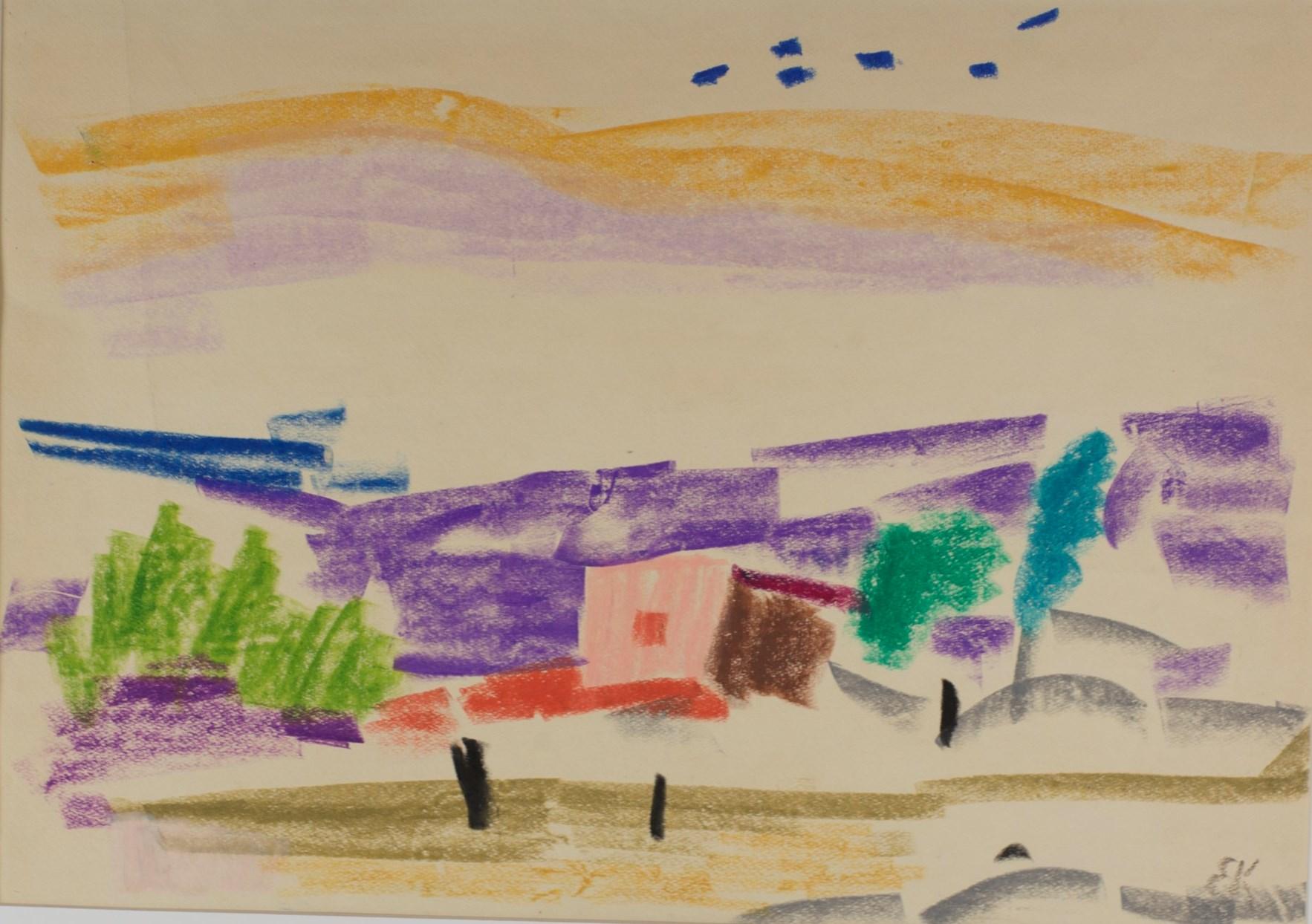 Дом в холмах. 1973. Бумага, масляная пастель. 43х61. Из собрания Фонда Марджани.jpg