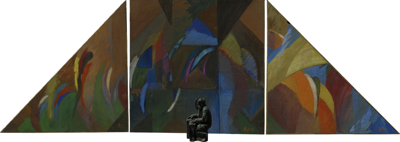 Посвящение Телониусу Монку. 1998.  Картон, гуашь. 100х300. Шамот, глазурь. 28х16х20 Собственность автора.jpg