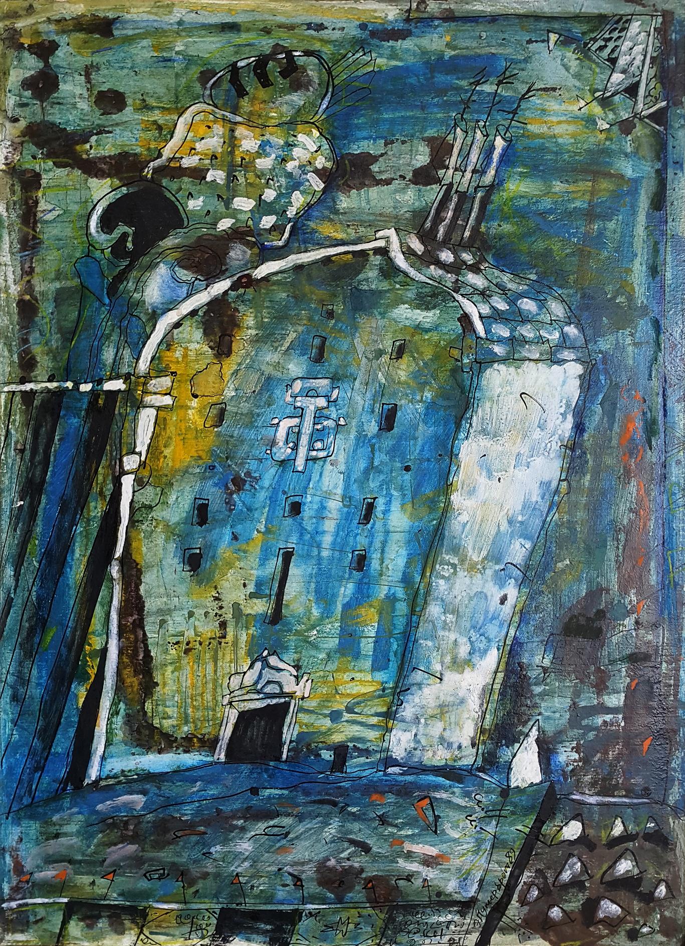 Эдуард Путерброт. Из серии Проповедь. 1991 г. Кртон, смешанная техника. 67х49 см Собственность Антона Путерброта.jpg