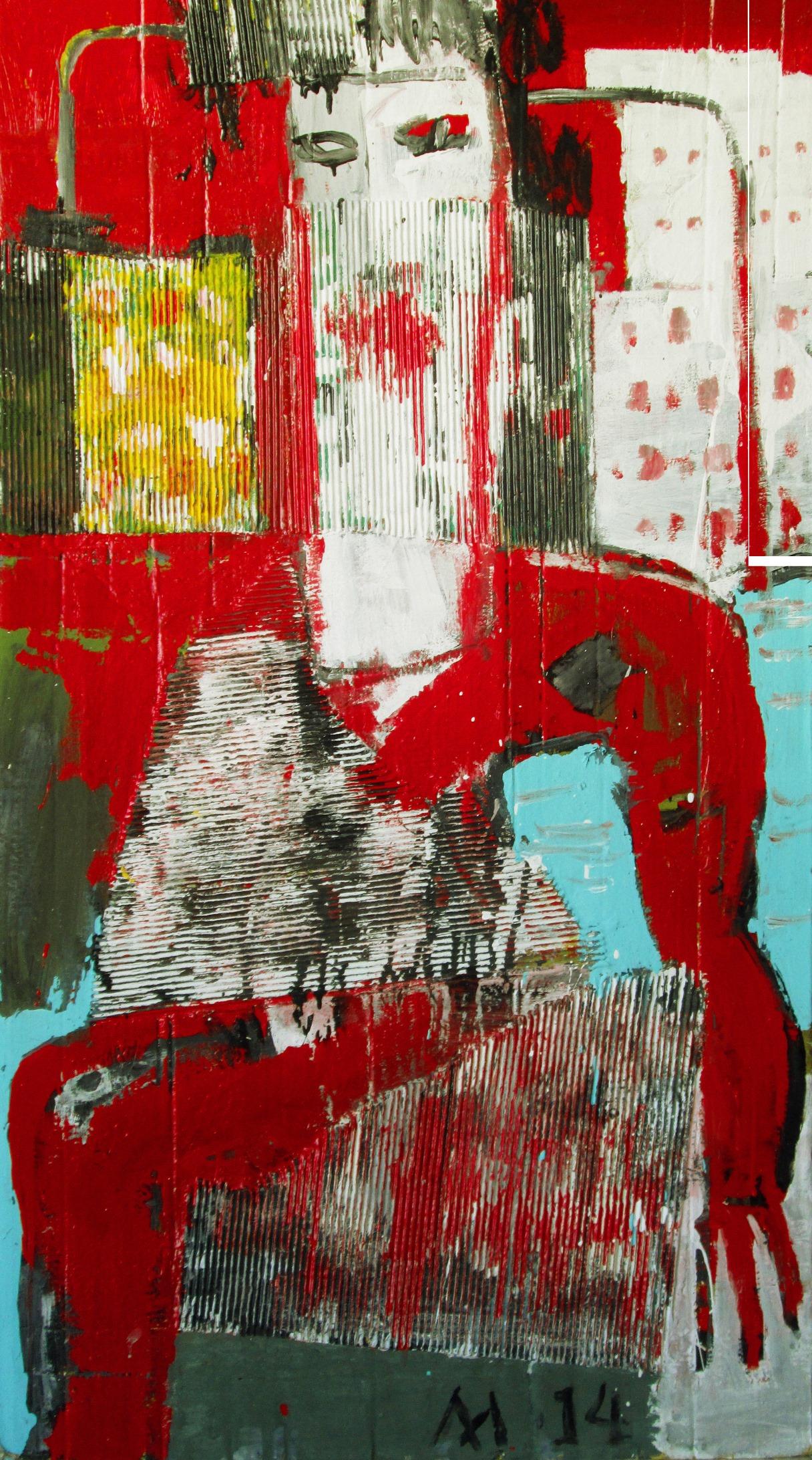 литвинов Город солнца, 2014 г., гофракартон, клей, эмаль, акрил на картоне, 140х77.jpg