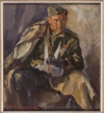 """В. Уфимцев """"Портрет раненного бойца"""" 1944 г. Холст, масло 105х94 см Коллекция Фонда Марджани"""
