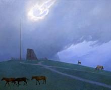 Азат Миннекаев. Коновязь небесного коня. 2011. Холст, акрил. 80х100 см. Коллекция Фонда Марджани