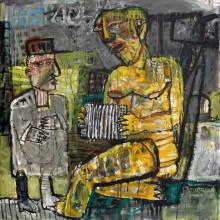 Айрат Терегулов. Позолоченная гармонистка делает джаз Шарлю. 2013. Холст, акрил. 100х100