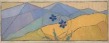 Волков А.Н. Два цветка на фоне гор. 1914. Картон. масло. 13,5 х 37,5