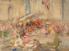 Татевосян О.К. Базар на Регистане. 1916. Фанера, масло. 50х67