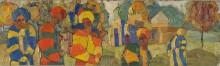 Волков А.Н. Люди у мечети. 1918 год. Картон, масло. 15,5х52 см