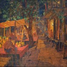 Исупов А.В. Ночной восточный Базар. 1920. Картон, смешанная техника. 39х40